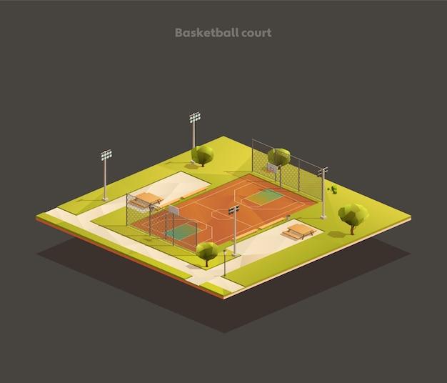 Изометрическая уличная баскетбольная площадка государственной школы Premium векторы