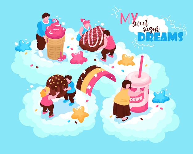 Isometric overeating gluttony composition with conceptual images of sweet confectionery products and fat people on clouds  illustration Free Vector