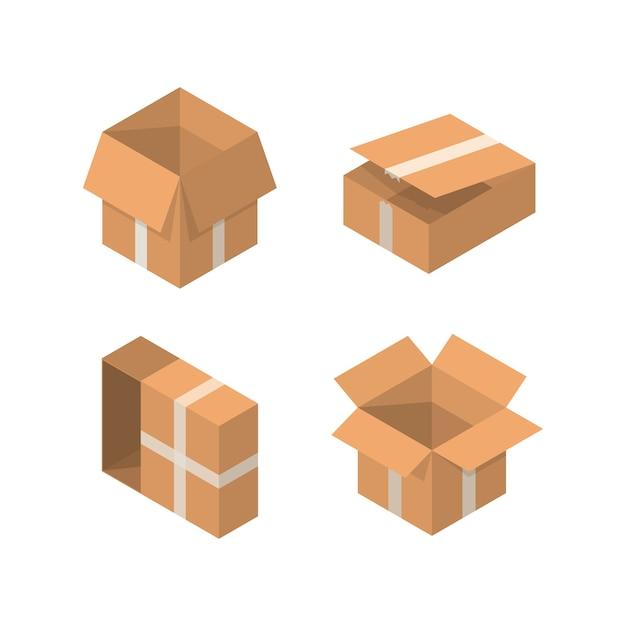 等尺性包装箱セット。白い背景に分離された漫画の段ボール箱のコレクション。 Premiumベクター