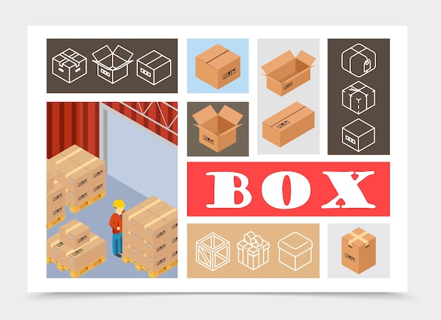 Isometric packaging colorful composition Free Vector