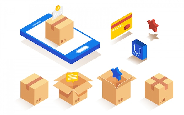 Isometric packaging paper boxes set for delivery and packaging of goods. Premium Vector