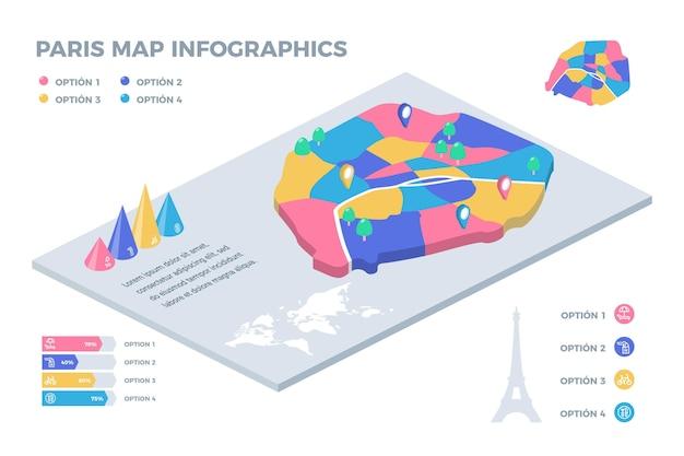 等尺性パリ市内地図のインフォグラフィック 無料ベクター