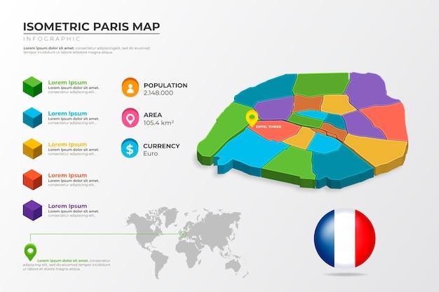 等尺性パリカラフルな地図のインフォグラフィック 無料ベクター