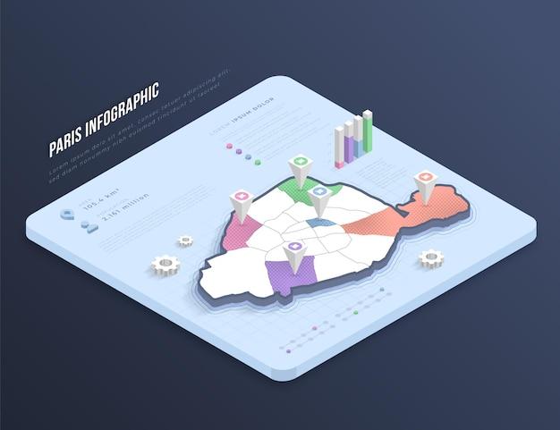 等尺性パリ地図インフォグラフィック 無料ベクター
