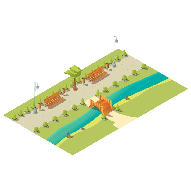 Isometric park with benches, trees, bushes, wooden bridge above river and litter bins Free Vector