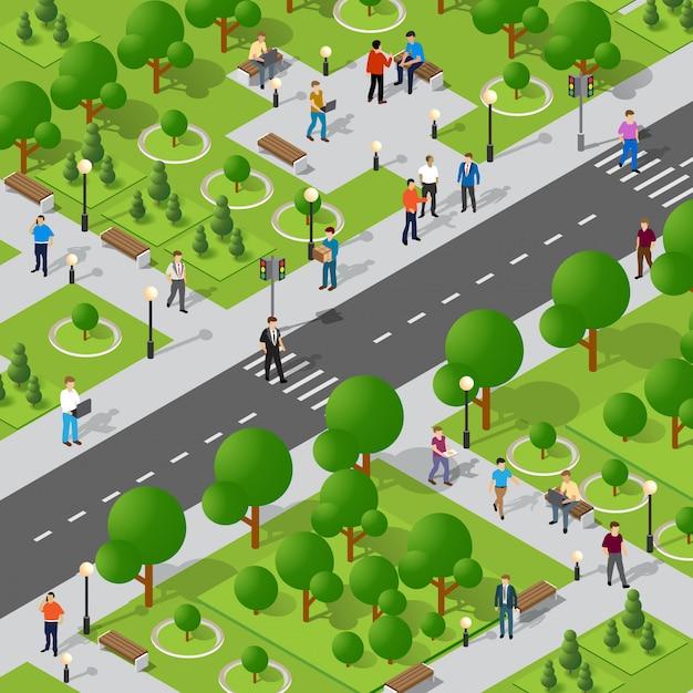 Isometric park with trees Premium Vector