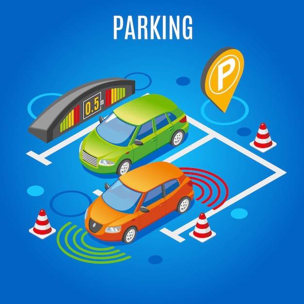 Isometric parking colored Free Vector