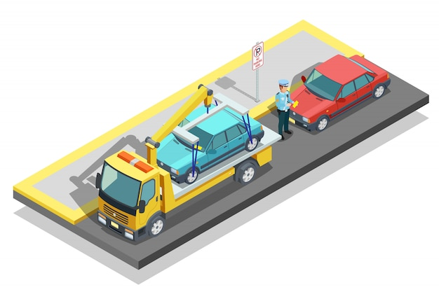 Isometric parking composition Free Vector