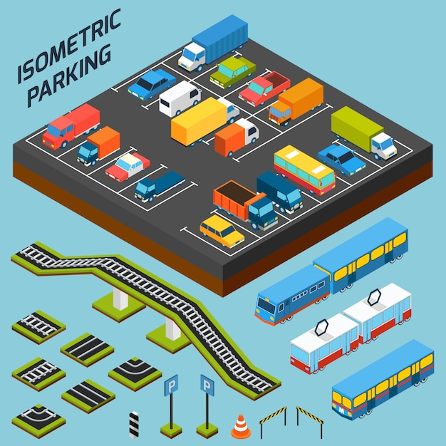 Isometric parking elements Free Vector