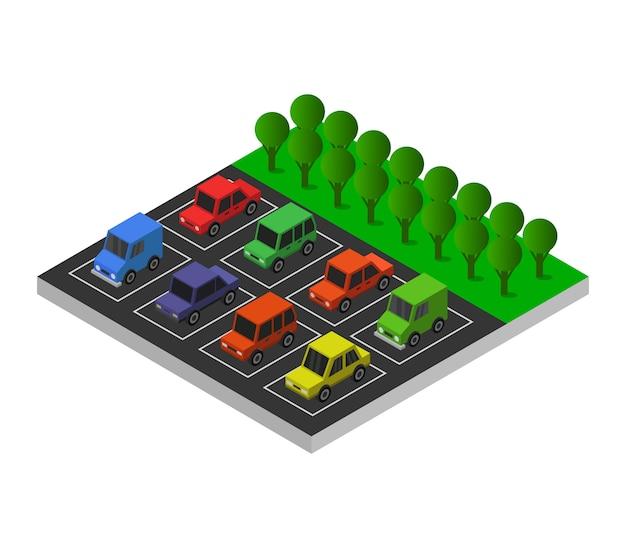 Isometric parking Premium Vector