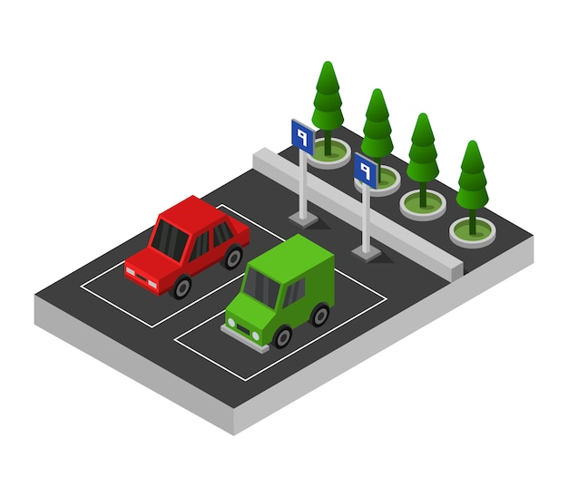 Isometric parking Premium Vector