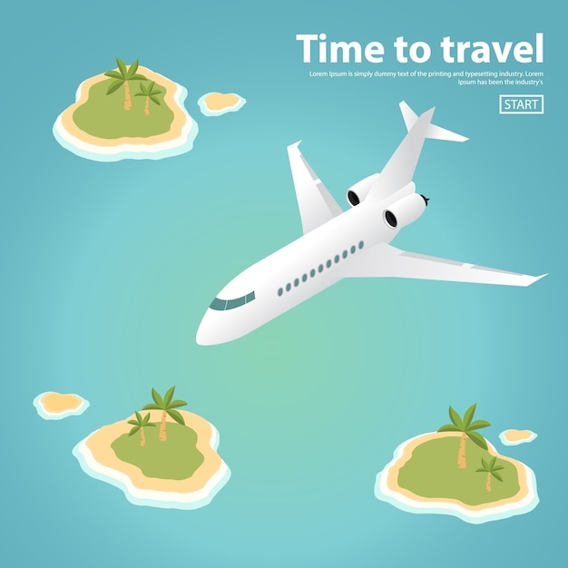 The isometric passenger private jet plane flying over tropical islands with palm trees and the ocean. Premium Vector