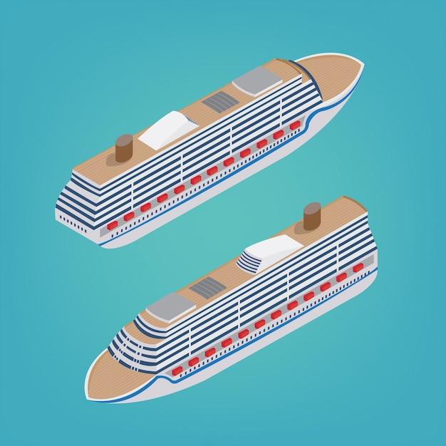 Isometric passenger ship Premium Vector