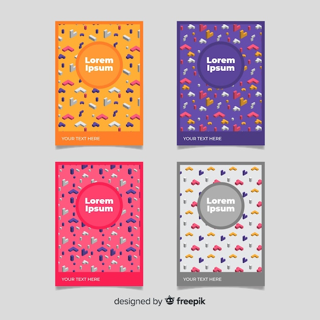 Isometric pattern brochure pack Free Vector