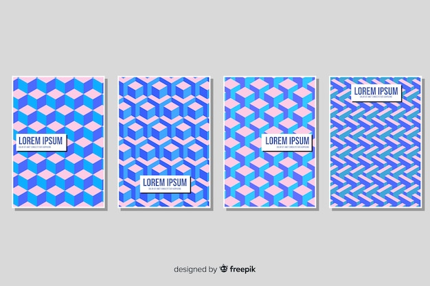 Isometric pattern brochure pack Free Vector