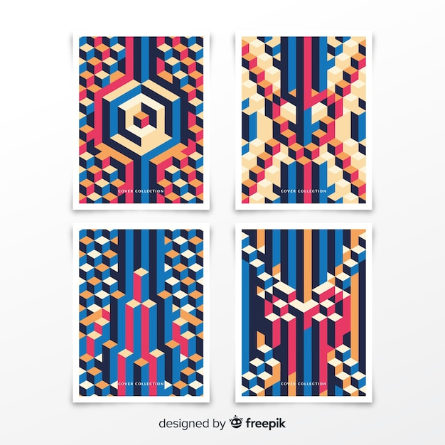 Isometric pattern cover collection Free Vector