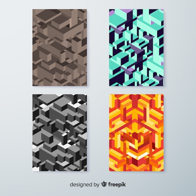 Isometric pattern cover template collection Free Vector
