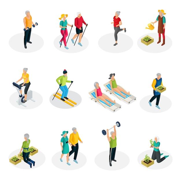 Изометрическая коллекция жизни пенсионера со спортивными упражнениями, катанием на лыжах, ходьбой, садоводством и пляжным отдыхом Бесплатные векторы