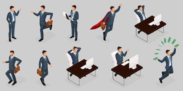 等尺性の人々、3 dの起業家、さまざまなコンセプトシーン、感情とジェスチャーのビジネスマン、スーパーヒーロー、管理および生産 Premiumベクター