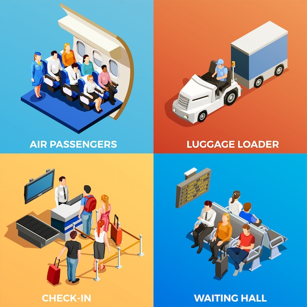 Isometric people at airport Free Vector