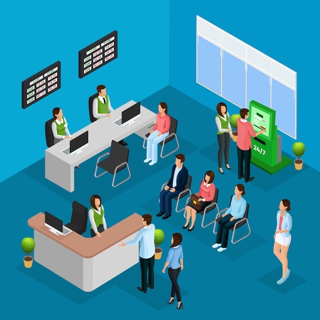 Isometric people in bank office concept Free Vector