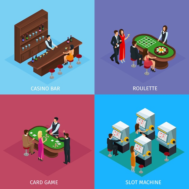 Isometric people in casino square concept Free Vector