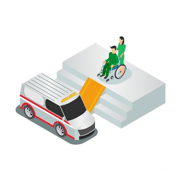 Isometric people health services Premium Vector