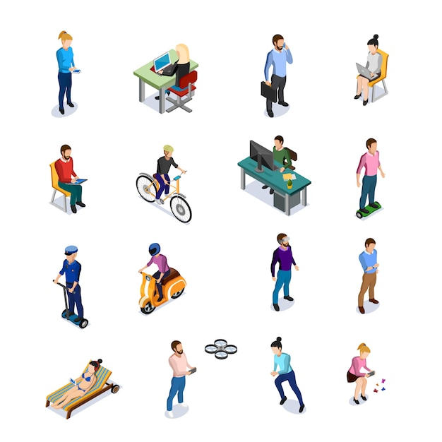 Isometric people icons set Free Vector
