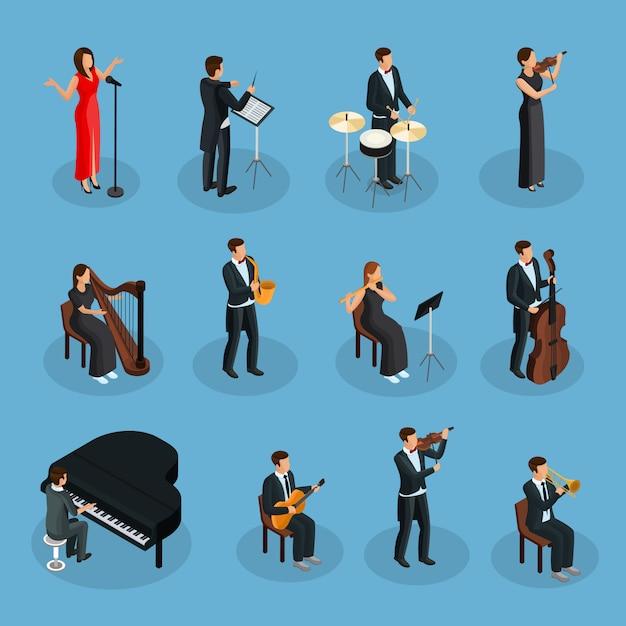 指揮者歌手と分離されたさまざまな楽器を演奏するミュージシャンとのオーケストラコレクションの等尺性人 無料ベクター