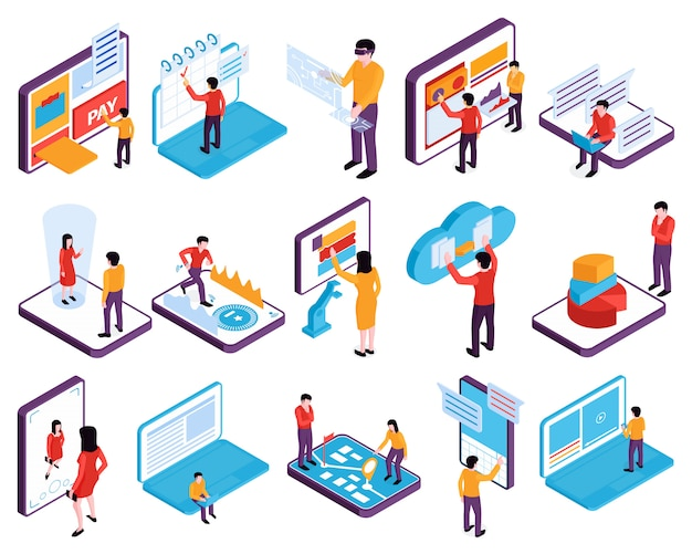 Isometric people interfaces devices set of isolated images with phones tablets laptop computers and human characters vector illustration Free Vector