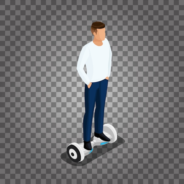 Isometric people, a man playing a game, 3d ride, ride control. Premium Vector