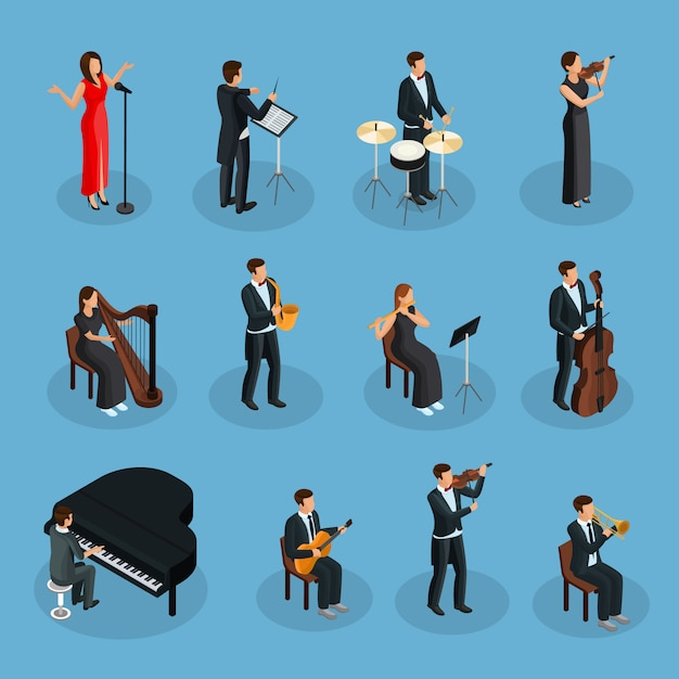 Isometric people in orchestra collection with conductor singer and musicians playing different musical instruments isolated Free Vector