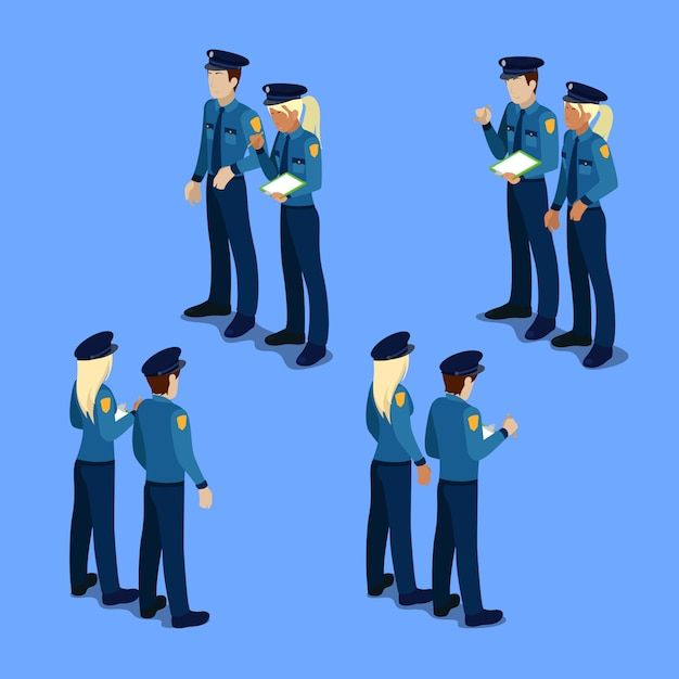Isometric people. policeman and policewoman at work Premium Vector