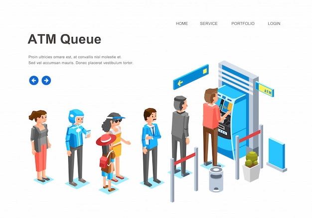 Isometric people queue in atm machine, man, women and kid character queue up in front of atm machine waiting for their turn  illustration Premium Vector