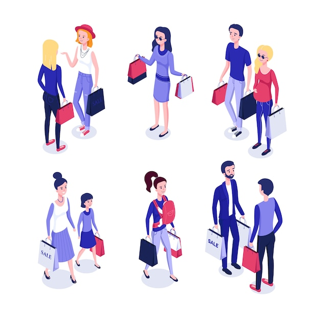 Isometric people on shopping Premium Vector