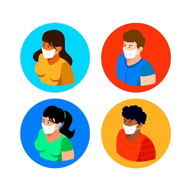 Изометрические люди в медицинских масках - коллекция Бесплатные векторы