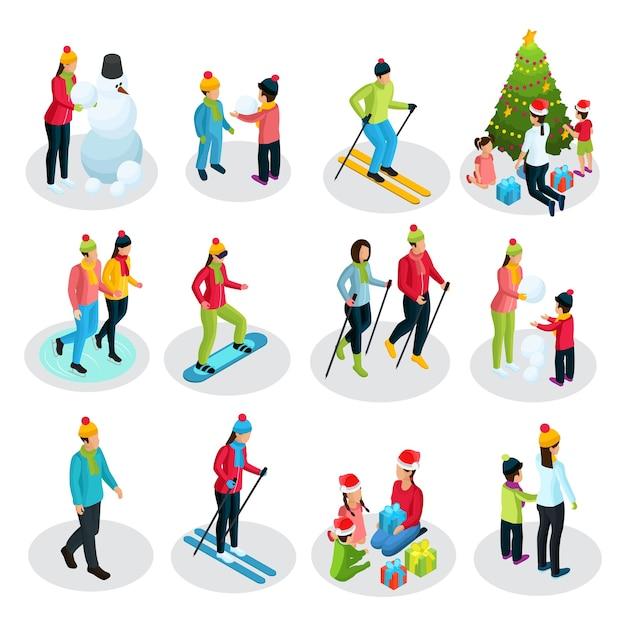 Persone isometriche durante le vacanze invernali con genitori e figli coinvolti nello sport e altre attività isolate Vettore gratuito