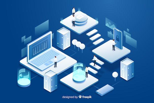 Isometric people working with technology Free Vector
