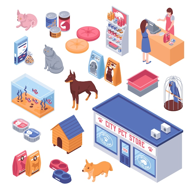 Isometric pet shop set Free Vector