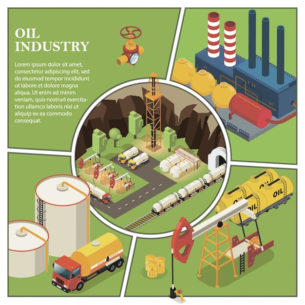 Isometric petroleum industry composition with refinery plant truck derrick drilling rigs fuel pump valve cisterns and barrels of oil Free Vector