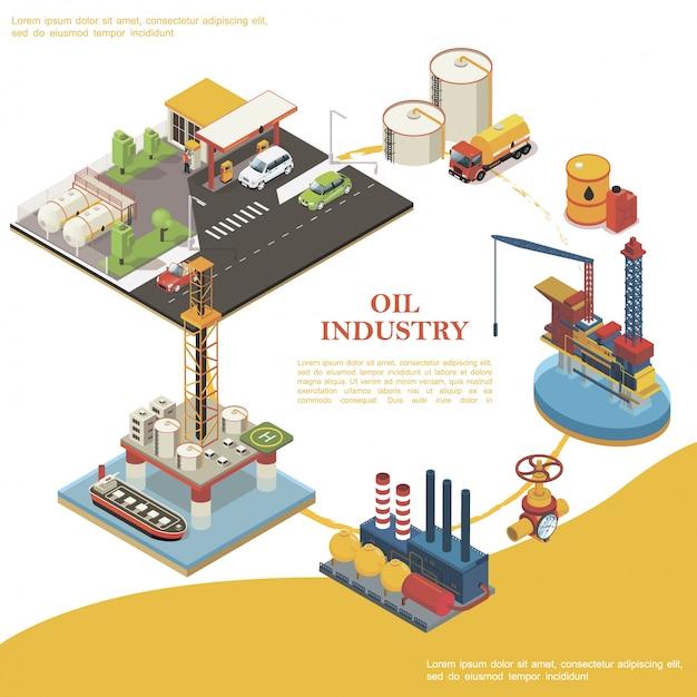 ガソリンスタンド油水プラットフォームトラックバレルキャニスター水槽精製プラントタンカーパイプラインとバルブの等尺性石油産業ラウンドテンプレート 無料ベクター