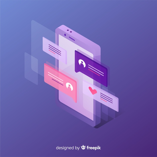 Isometric phone with chat concept Free Vector
