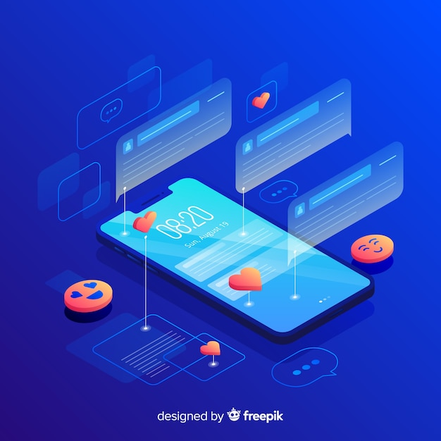 Isometric phone with hologram texts Free Vector