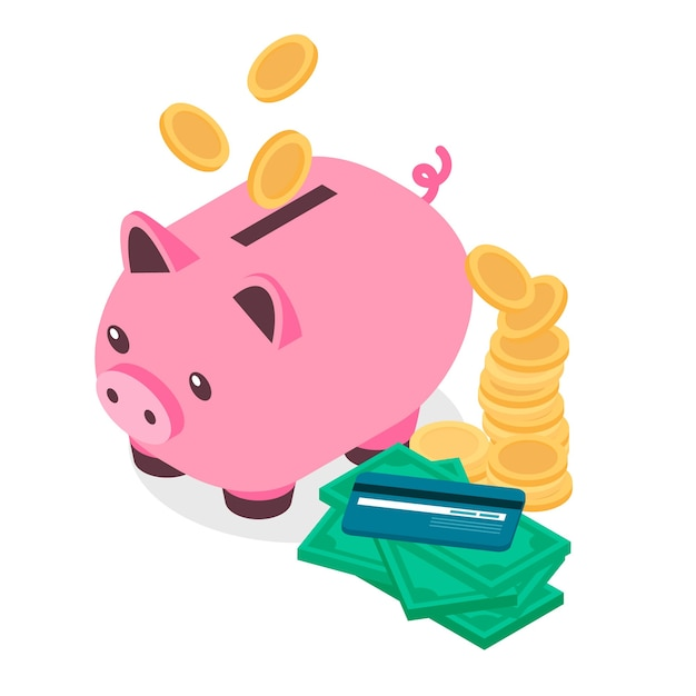 Isometric piggy bank background Free Vector