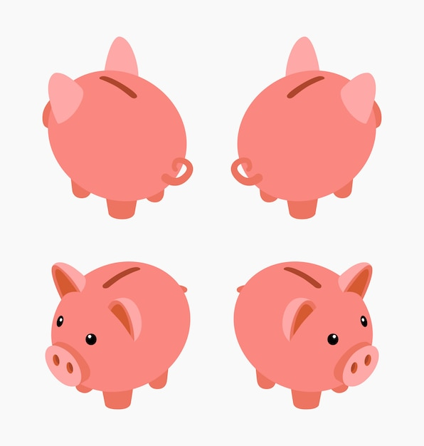 Isometric piggy bank. set of the piggy moneyboxes Premium Vector