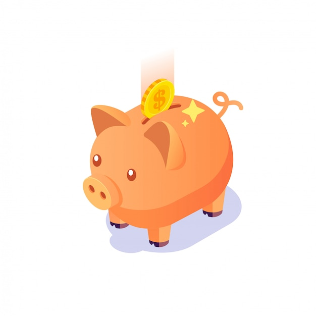 Isometric piggy bank with coins on isolated white background, investment, saving money concept with piggy bank, piggy bank icon Premium Vector