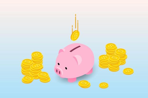 Isometric piggy bank. Premium Vector