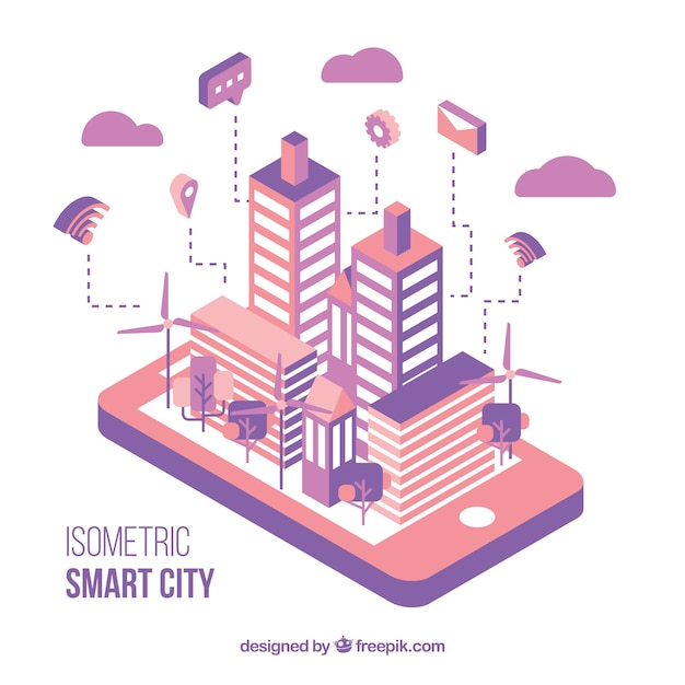 Isometric pink and violet modern city