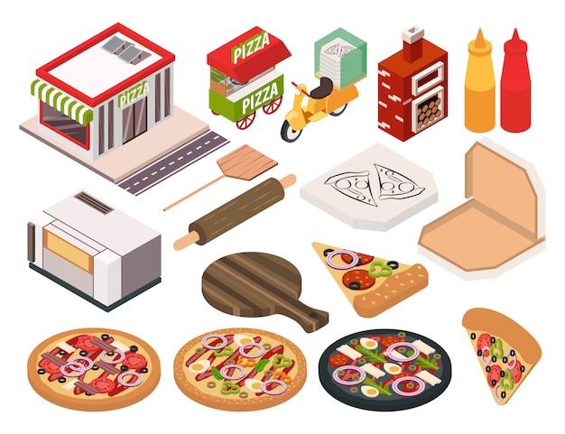 Isometric pizzeria icon set Free Vector