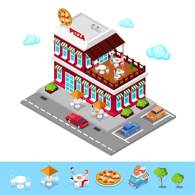 Isometric pizzeria. modern restaurant with parking zone. people in pizzeria. vector illustration Premium Vector